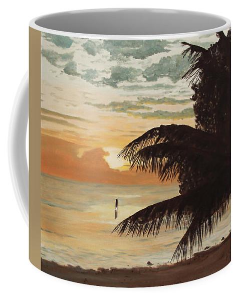 Sunrise Coffee Mug featuring the painting Fisherman At Sunrise by Johanna Lerwick