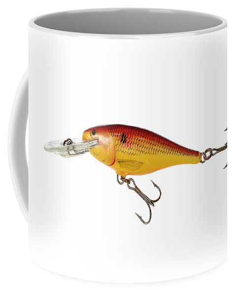 Fishing Coffee Mug featuring the photograph Fishing Lure Isolated On White by Donald Erickson
