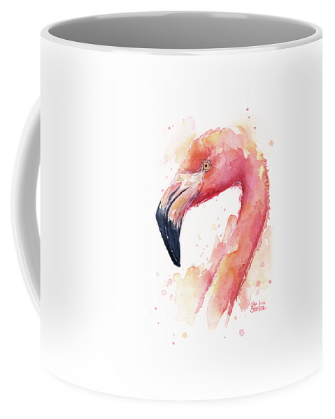 Pink Coffee Mug featuring the painting Flamingo Watercolor by Olga Shvartsur