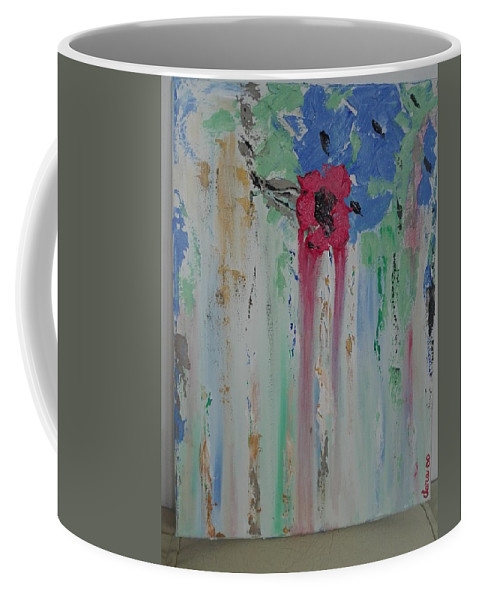 Abstract Coffee Mug featuring the painting Flori by Clara Tanasie