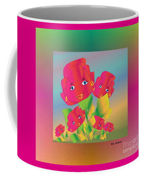 Cartoon Coffee Mug featuring the digital art Flower Power by Iris Gelbart