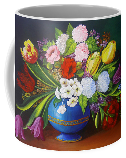 Colorful Coffee Mug featuring the painting Flowers In A Vase by Dominica Alcantara