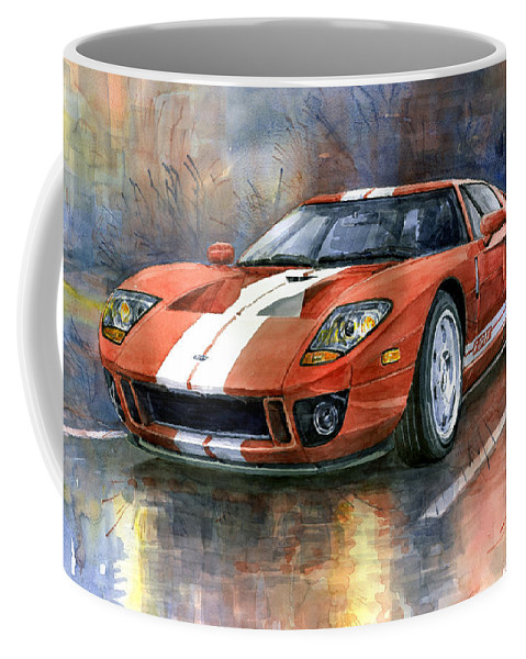 Watercolor Coffee Mug featuring the painting Ford Gt 40 2006 by Yuriy Shevchuk