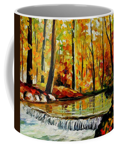 Afremov Coffee Mug featuring the painting Forest Stream by Leonid Afremov