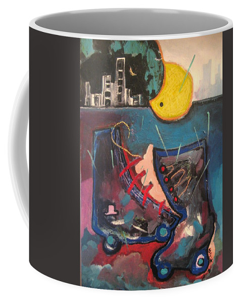 Abstract Paintings Coffee Mug featuring the painting Forgotten Days by Seon-Jeong Kim