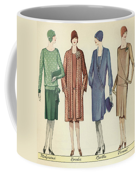 Flapper Coffee Mug featuring the painting Four Flappers Modelling French Designer Outfits, 1928 by American School