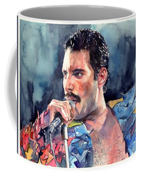 Freddie Coffee Mug featuring the painting Freddie Mercury portrait by Suzann Sines