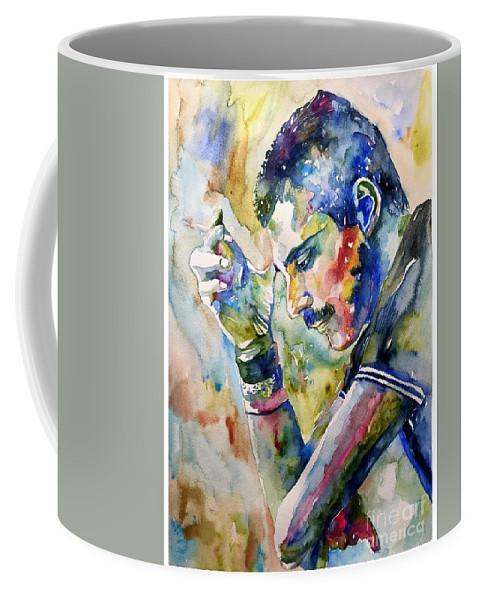 Freddie Coffee Mug featuring the painting Freddie Mercury watercolor by Suzann Sines