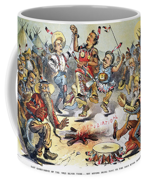 1896 Coffee Mug featuring the photograph Free Silver Cartoon, 1896 by Granger