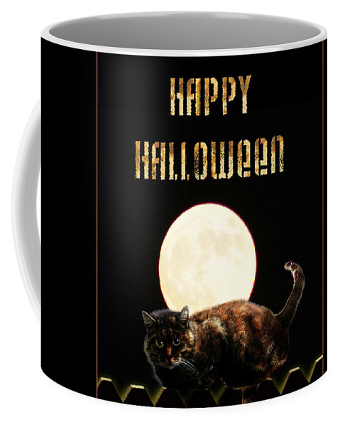 Coffee Mug featuring the mixed media Full Moon Cat by Gravityx9 Designs