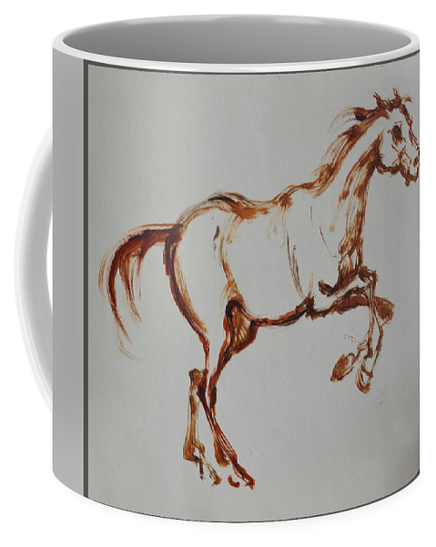 Horses Coffee Mug featuring the drawing Galloping Horse by Yuri Hope