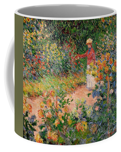 Garden Coffee Mug featuring the painting Garden At Giverny by Claude Monet