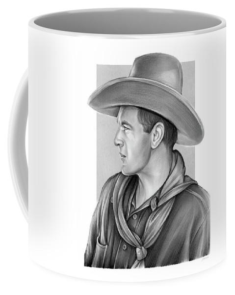 Gary Cooper Coffee Mug featuring the drawing Gary Cooper by Greg Joens