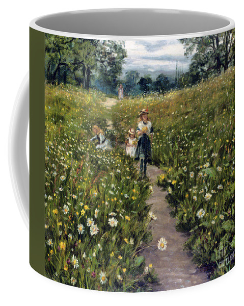 Philip Richard Morris - Gathering Wild Flowers. Blue Sky Coffee Mug featuring the painting Gathering Wild Flowers by MotionAge Designs
