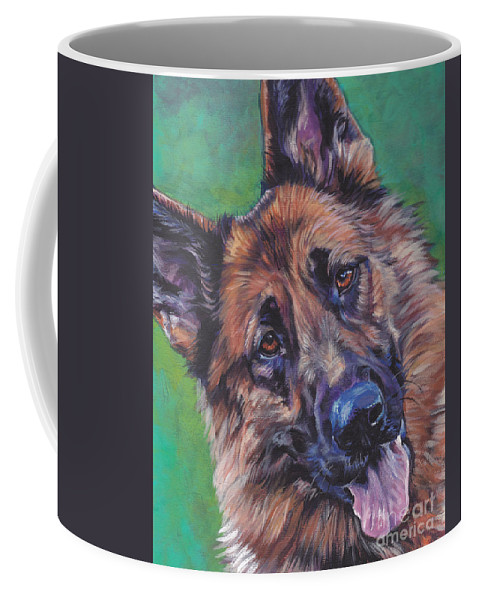 German Shepherd Coffee Mug featuring the painting German Shepherd by Lee Ann Shepard