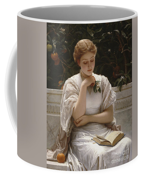 Girl Reading Coffee Mug featuring the painting Girl Reading by Charles Edward Perugini