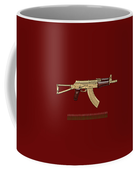 'the Armory' Collection By Serge Averbukh Coffee Mug featuring the photograph Gold A K S-74 U Assault Rifle With 5.45x39 Rounds Over Red Velvet  by Serge Averbukh