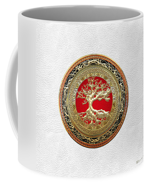 Treasure Trove By By Serge Averbukh Coffee Mug featuring the photograph Gold Celtic Tree of Life on White Leather by Serge Averbukh