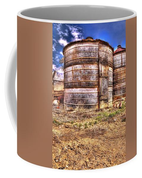 Grain Bin Coffee Mug featuring the photograph Grain Bins by Randy Waln