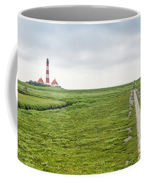 Architecture Coffee Mug featuring the photograph Green Fields And Romantic Lighthouse by JR Photography
