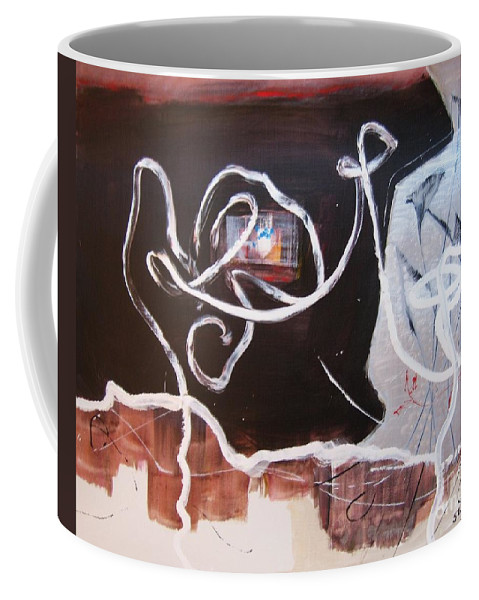 Abstract Paintings Coffee Mug featuring the painting Hand In Hand by Seon-Jeong Kim