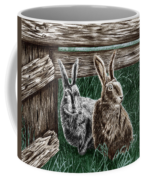 Hare Line Coffee Mug featuring the drawing Hare Line by Peter Piatt