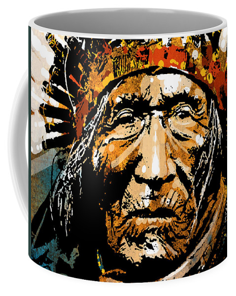 Native American Coffee Mug featuring the painting He Dog by Paul Sachtleben