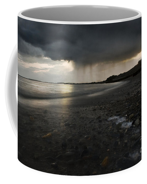 Beach Coffee Mug featuring the photograph Here Comes The Rain by Angel Tarantella