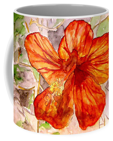 Hibiscus Coffee Mug featuring the painting Hibiscus 2 by Derek Mccrea