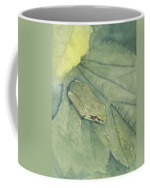 Frog Coffee Mug featuring the painting Hidden by Mary Tuomi