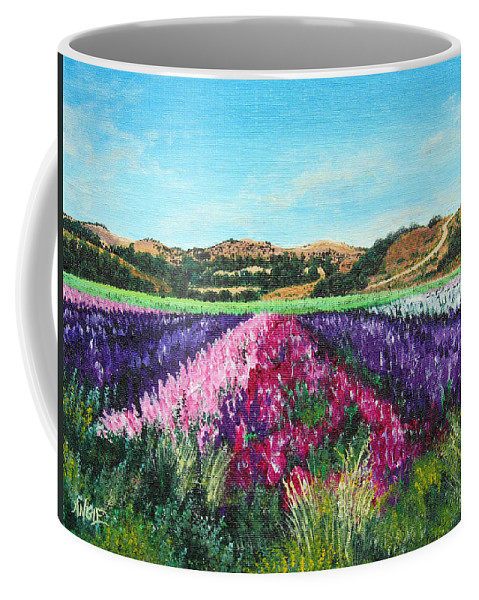 Highway 246 Coffee Mug featuring the painting Highway 246 Flowers 3 by Angie Hamlin