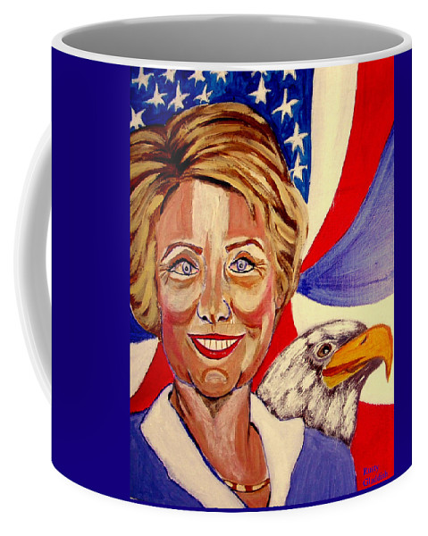 Hillimericks! Presidential Elections Coffee Mug featuring the painting Hillary Clinton by Rusty Gladdish