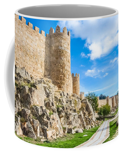 Ancient Coffee Mug featuring the photograph Historic Walls Of Avila by JR Photography