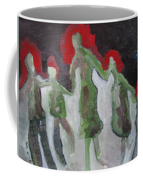 Abstract Paintings Coffee Mug featuring the painting Holding Hands by Seon-Jeong Kim