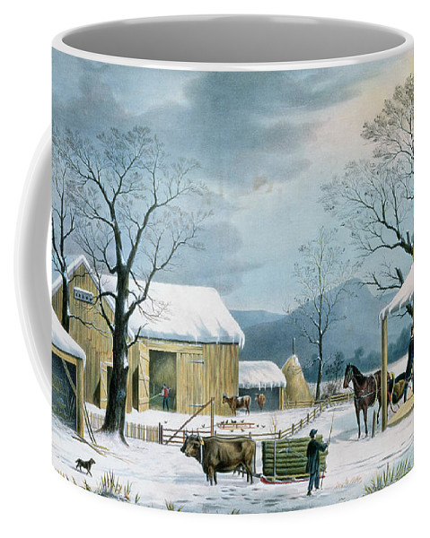 Thanksgiving Coffee Mug featuring the painting Home To Thanksgiving by Currier and Ives