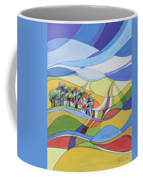Landscape Coffee Mug featuring the painting Houses Along The River by Aniko Hencz