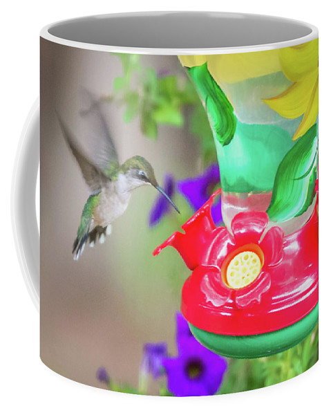 Flower Coffee Mug featuring the photograph Hummingbird Found In Wild Nature On Sunny Day by Alex Grichenko