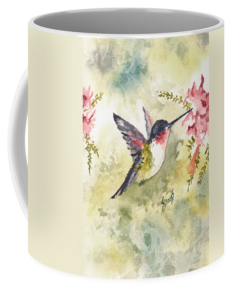 Hummingbird Coffee Mug featuring the painting Hummingbird by Sam Sidders