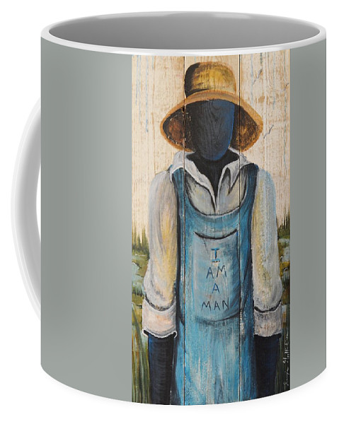 Authentic Coffee Mug featuring the painting I Am A Man by Sonja Griffin Evans
