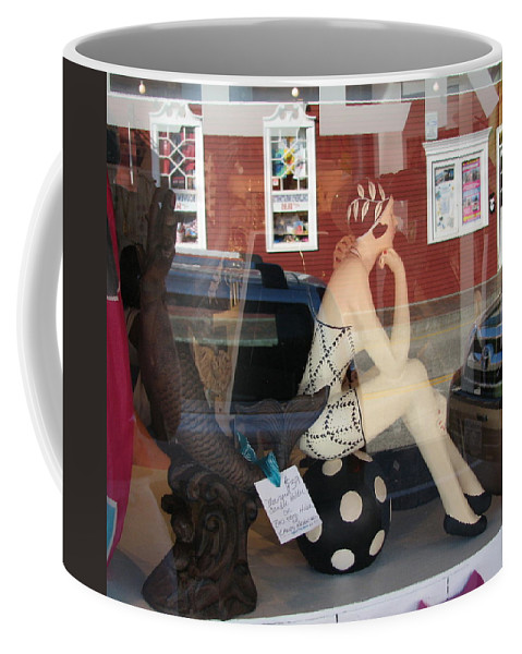 Display Window Coffee Mug featuring the photograph I Feel Like Someone is Watching Me by Mary Ellen Mueller Legault