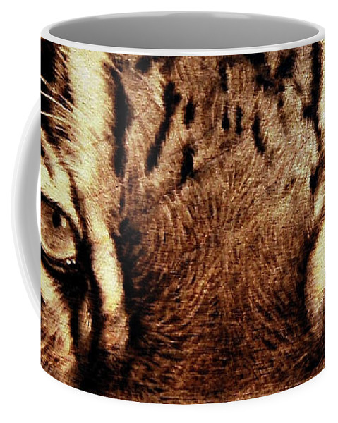 Pyrography Coffee Mug featuring the pyrography I M Watching U by Ilaria Andreucci