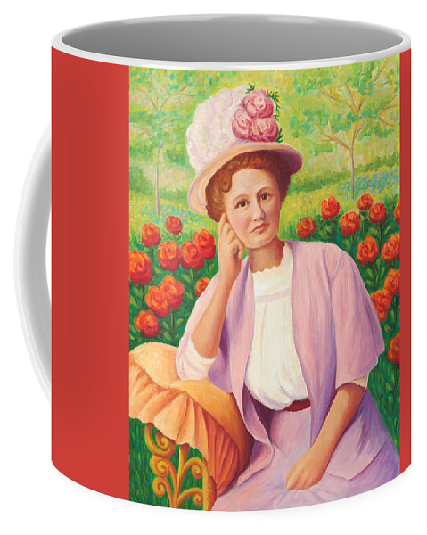 Portrait Coffee Mug featuring the painting Ida In The Garden by Amy Vangsgard