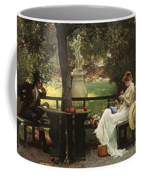 In Love (oil On Canvas) By In Love (oil On Canvas) By Marcus Stone (1840-1921) Coffee Mug featuring the painting In Love by Marcus Stone