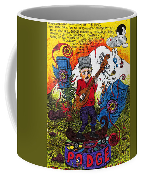 Music Coffee Mug featuring the drawing Inner Planetary Rage Head by Podge Elvenstar