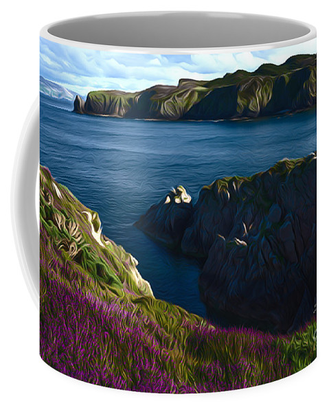 Irish Seascape Landscape Scenic Ireland Sea Coast Cliffs Donegal Coffee Mug featuring the photograph Irish Seascape by Andrew Michael