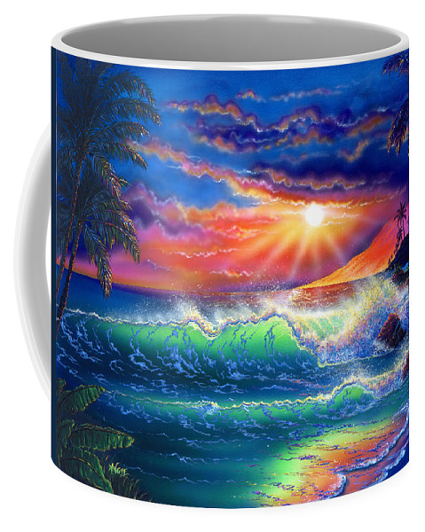 Seascape Coffee Mug featuring the painting Island Paradise by Angie Hamlin