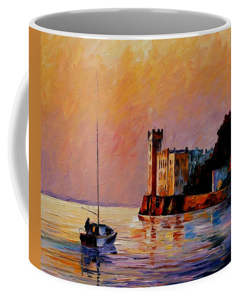 Afremov Coffee Mug featuring the painting Italy - Trieste Gulf by Leonid Afremov