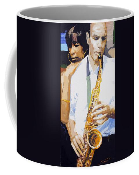 Jazz Coffee Mug featuring the painting Jazz Muza Saxophon by Yuriy Shevchuk