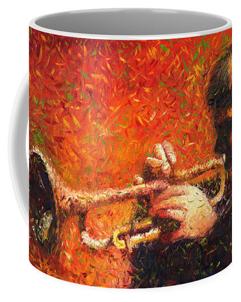 Jazz Coffee Mug featuring the painting Jazz Trumpeter by Yuriy Shevchuk