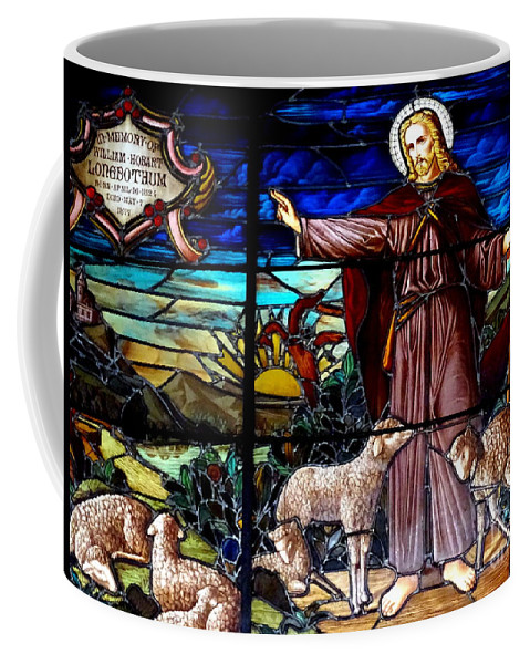 Stained Glass Coffee Mug featuring the photograph Jesus And Lambs by Ed Weidman